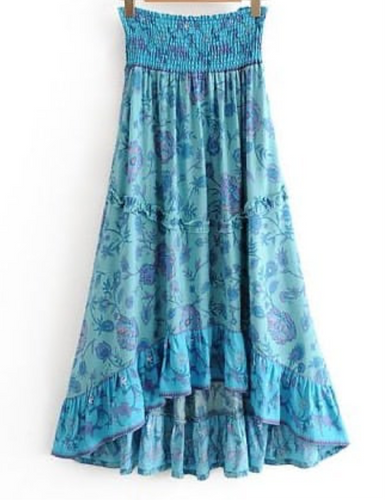 Blue Floral High-low Tiered Skirt