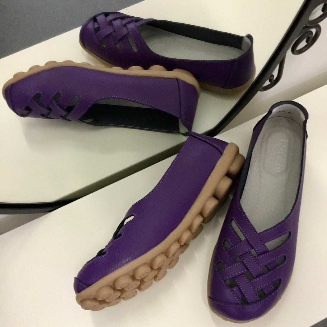Purple Lattice  Style Leather Nodule Shoes