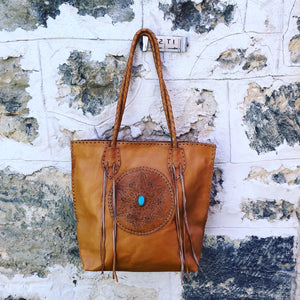 Hand Tooled Stitch & Tassel Stone Bag