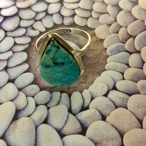 Turquoise Teardrop Sterling Silver Ring