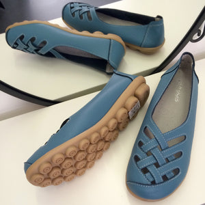 Light Blue Lattice Style Leather Nodule Shoes