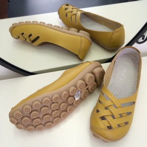 Yellow Lattice  Style Leather Nodule Shoes