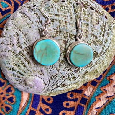 Round Turquoise Sterling Silver Earrings