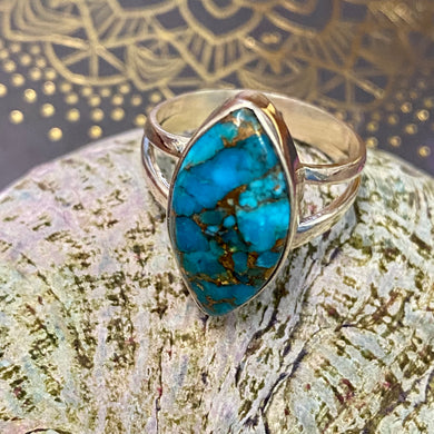 Blue Mohave Marquise Sterling Silver Ring