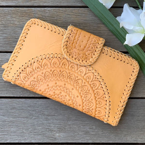 Hand  tooled mandala clutch