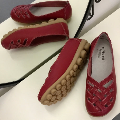 Red Lattice  Style Leather Nodule Shoes