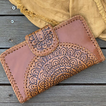 Load image into Gallery viewer, Hand  tooled mandala clutch