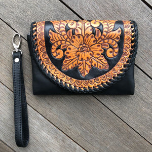 Hand  tooled flowers & stitch purse