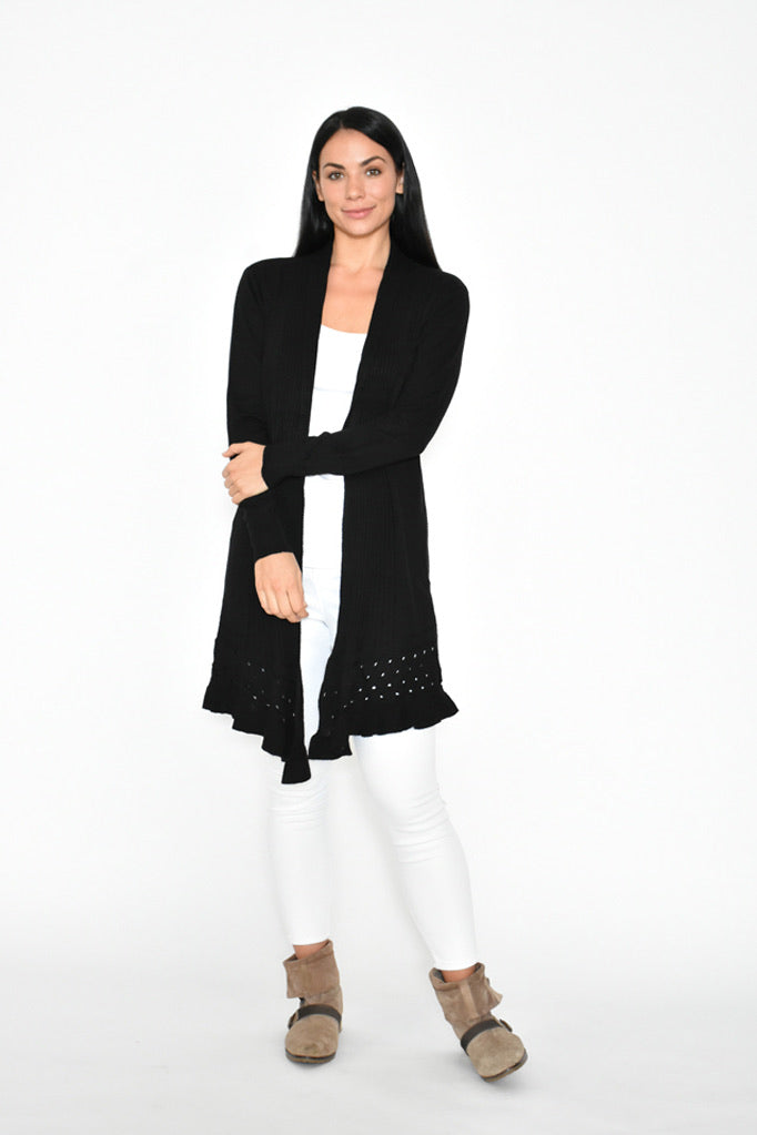Flared Hem Long Cardigan - Black