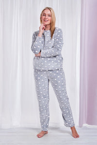 Printed Plush Pyjama Set