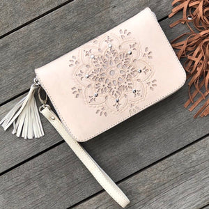 Hand  tooled leather zip round wallet