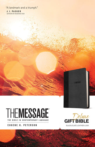 The Message Deluxe Gift Bible - Black/Slate Leather-Look