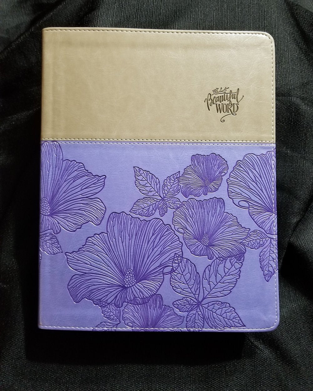 NIV Beautiful Word Coloring Bible - Large Print- LeatherSoft - Purple/Tan