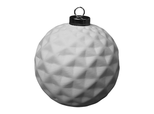 Ceramic Ornament - Faceted Silver Cap Ball