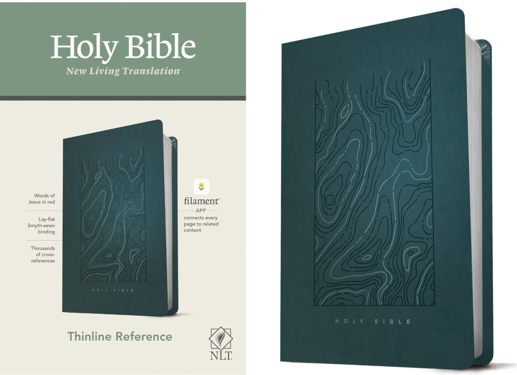 NLT Thinline Reference Bible - Teal Blue Leatherlike (Filament Enabled Edition)