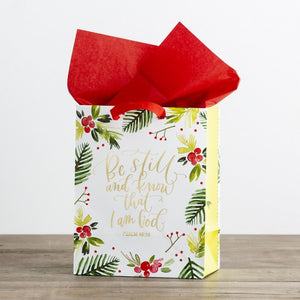 Be Still - Medium Christmas Gift Bag with Tissue