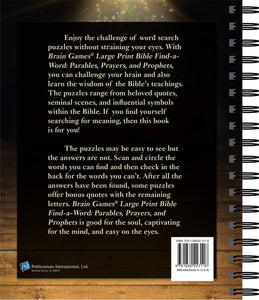 Bible Find-A-Word Large Print - Parables, Prayers, and Prophets (Brain Games)