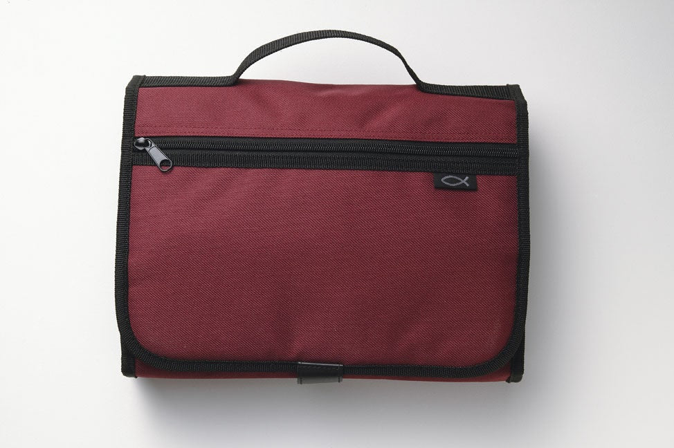Bible Cover - Tri-fold Organizer Cranberry Large (Zondervan)