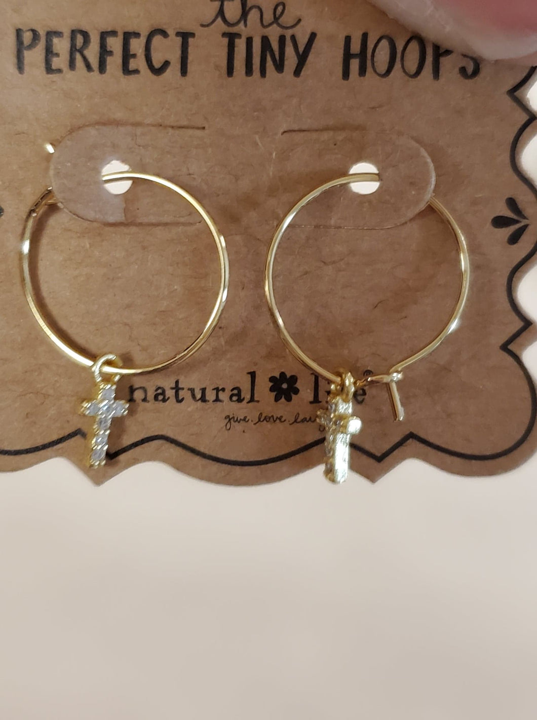 Earrings - Perfect Tiny Hoops - Cross (Natural Life)