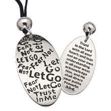 Load image into Gallery viewer, Let Go Graffiti Engraved Necklace - Proverbs 3: 5-6