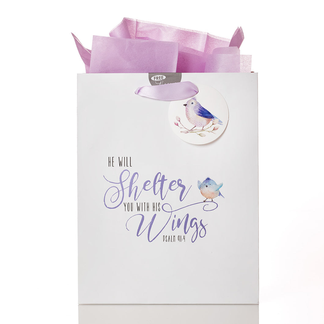 Gift Bag (Medium) - He Will Shelter With His Wings - Psalm 91:4