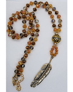 "Feather 32"" Beaded Necklace - Shades of Brown and Gold"