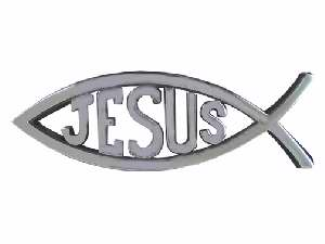 Auto Decal - Jesus/Fish Large (Silver)