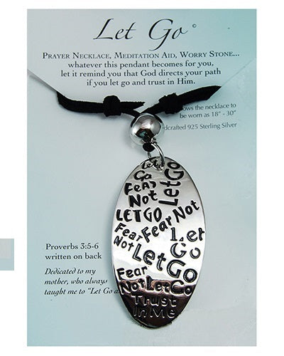 Let Go Graffiti Engraved Necklace - Proverbs 3: 5-6