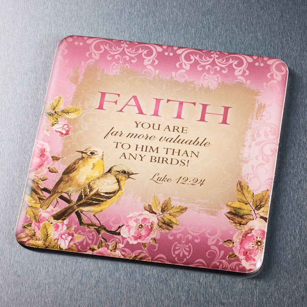 Magnet - Faith, Birds, Pink - Luke 12:24