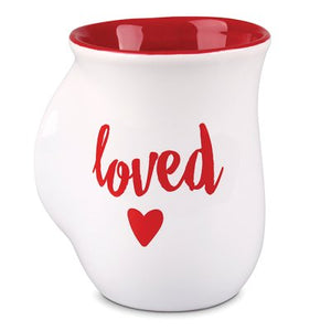 Hand-warmer Mug - loved, Psalm 23:6 (White w/Red)