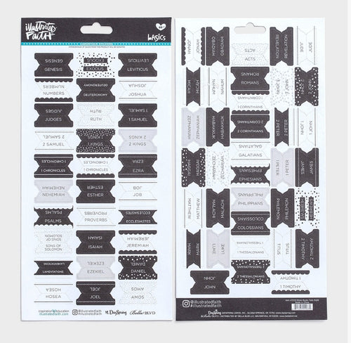 Books of the Bible Tabs, Black & White - Illustrated Faith