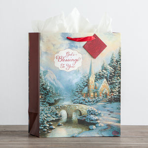 Thomas Kinkade - God's Blessings to You - Large Christmas Gift Bag