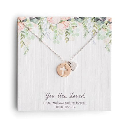 You. Are. Loved. - Heart & Cross Necklace