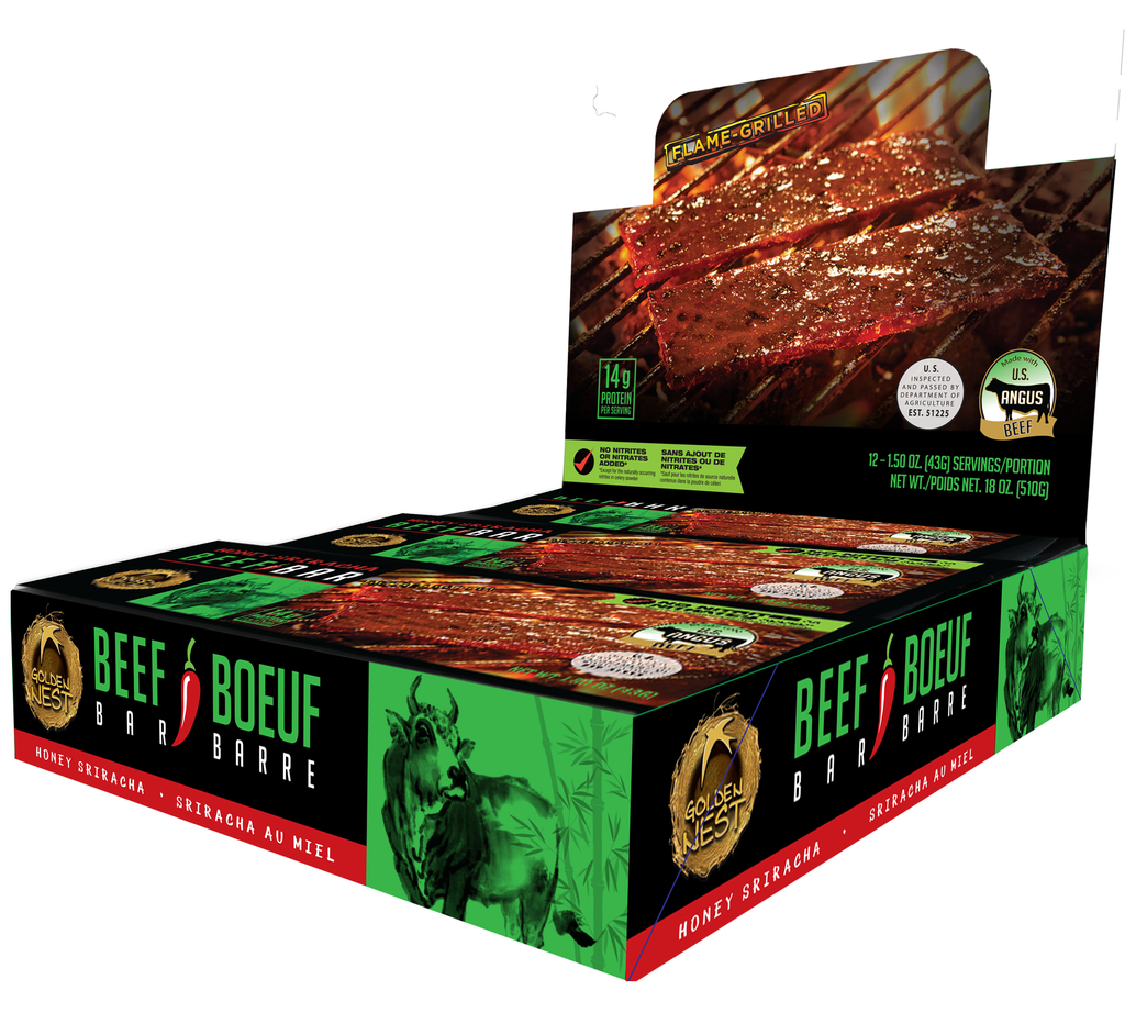 Golden Nest Beef Jerky Bar - Honey Sriracha - 1.5 oz. x 12