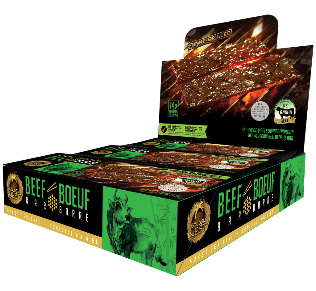 Golden Nest Beef Jerky Bar - Honey Teriyaki - 1.5 oz. x 12