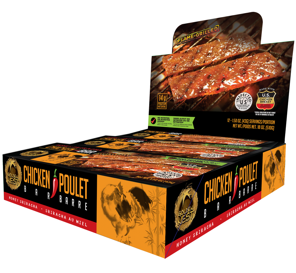 Golden Nest Chicken Jerky Bar - Honey Sriracha - 1.5 oz. x 12