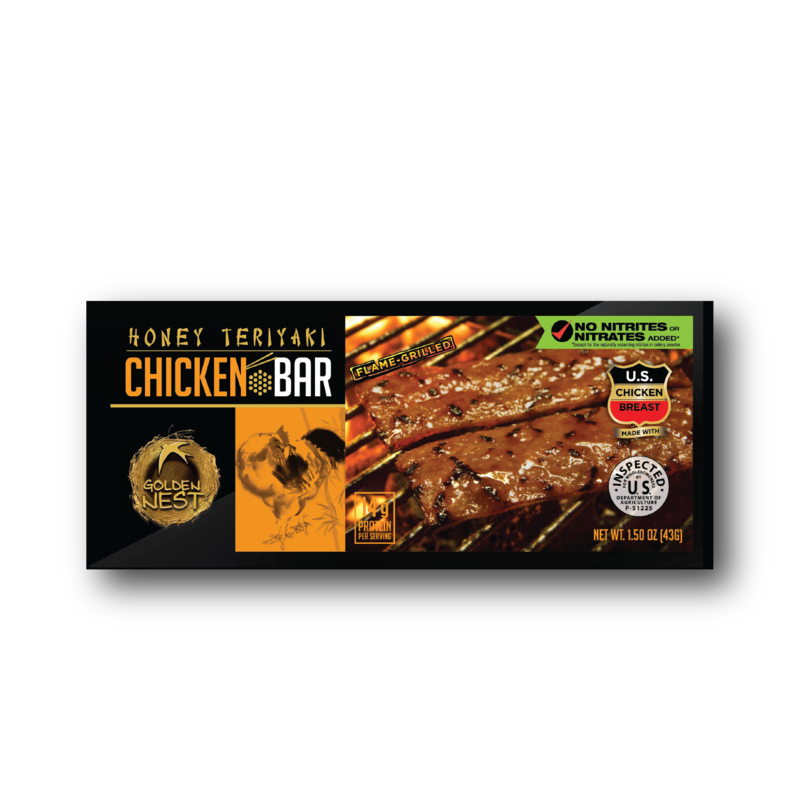 Golden Nest Chicken Jerky Bar - Honey Teriyaki - 1.5 oz. x 12