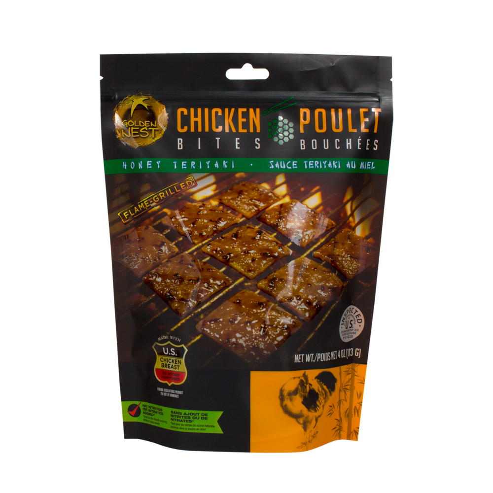 Golden Nest Chicken Jerky Bites - Honey Teriyaki - 4 oz. + FREE 1 Jerky Bar ( 1.5oz)