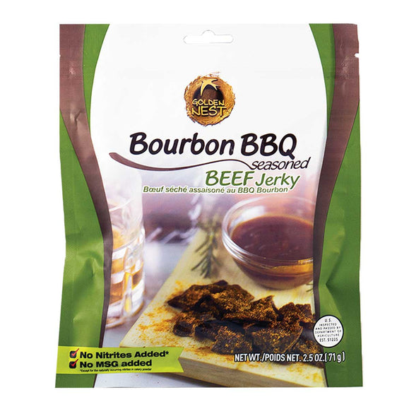 Golden Nest Jerky - Bourbon BBQ Seasoned Beef Jerky Bites - 2.5 oz