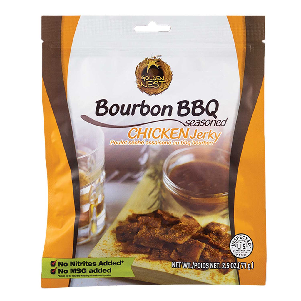 Golden Nest Jerky - Bourbon BBQ Seasoned Chicken Jerky Bites - 2.5 oz
