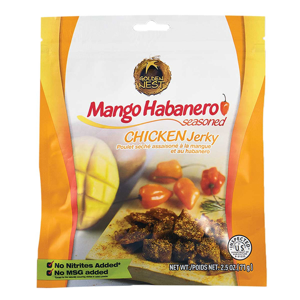 Golden Nest Jerky - Mango Habanero Seasoned Chicken Jerky Bites - 2.5 oz