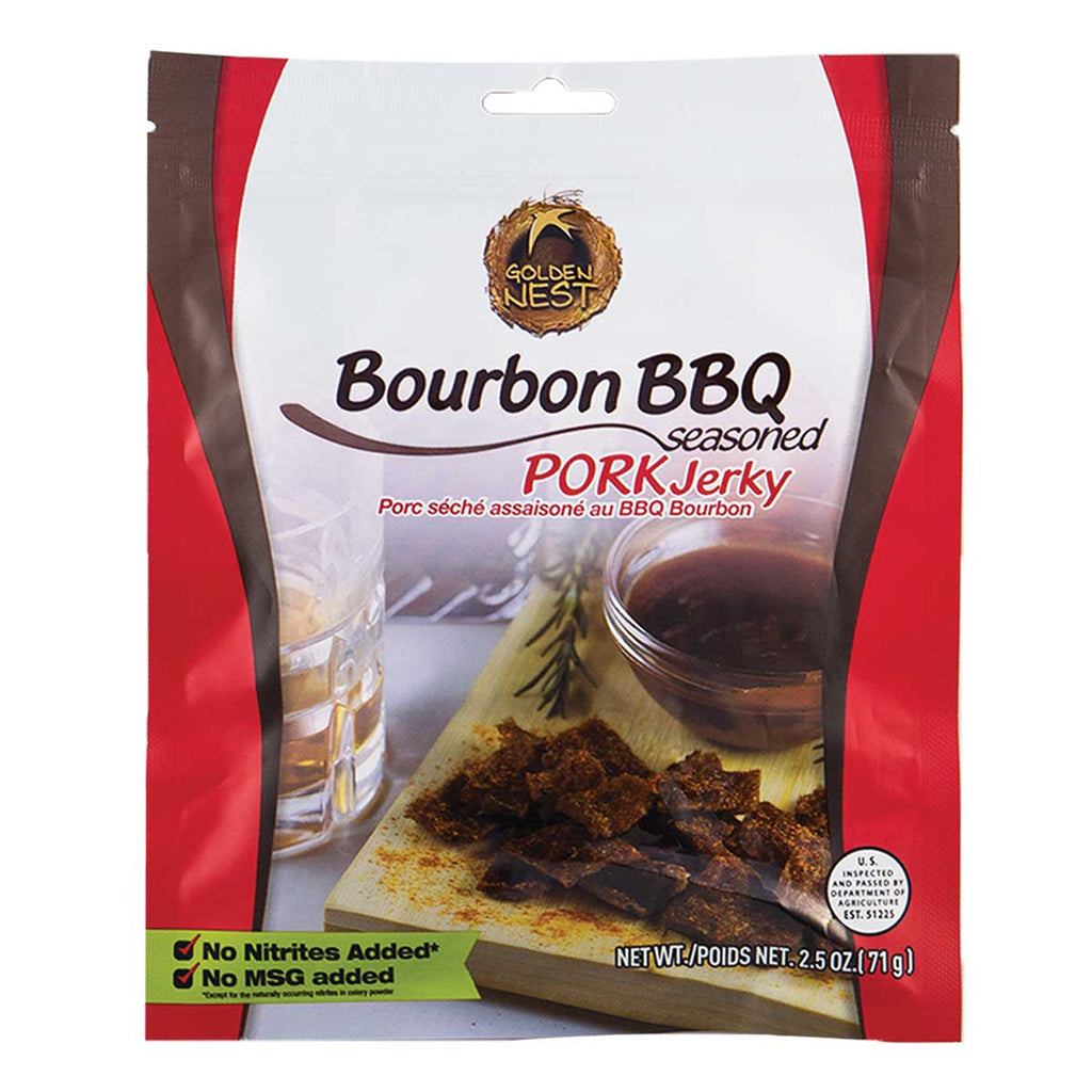 Golden Nest Jerky - Bourbon BBQ Seasoned Pork Jerky Bites - 2.5 oz