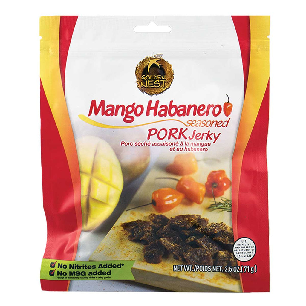 Golden Nest Jerky - Mango Habanero Seasoned Pork Jerky Bites - 2.5 oz