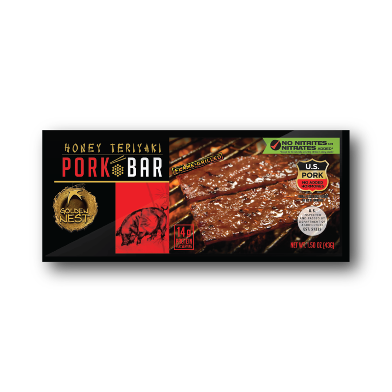 Golden Nest Pork Jerky Bar - Honey Teriyaki - 1.5 oz. x 12