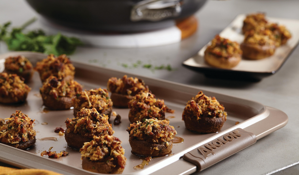 Sausage, Sun-Dried Tomato and Pecorino Stuffed Mushrooms