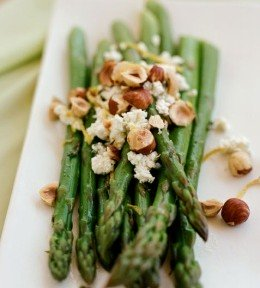 Asparagus with Hazelnuts and Goat Cheese