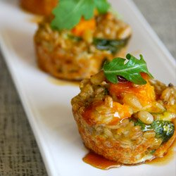 "Maple Syrup Glazed Barley and Squash ""Cupcakes"""