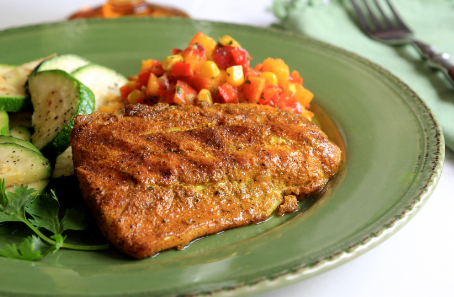 Turmeric Dusted Grilled Snapper with Curried Peach Corn Chutney