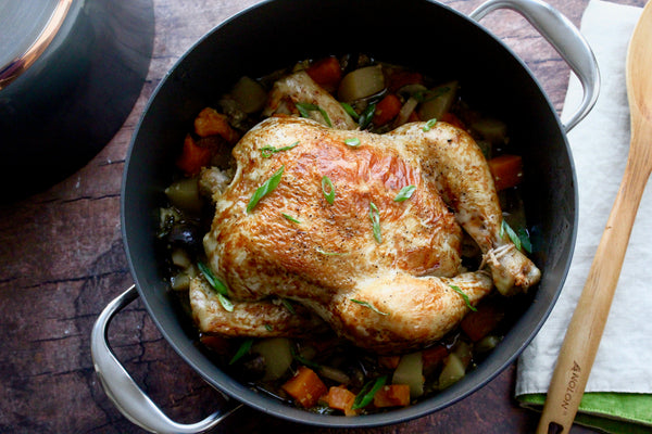 Miso-Soy Braised Chicken with Winter Earth Vegetables