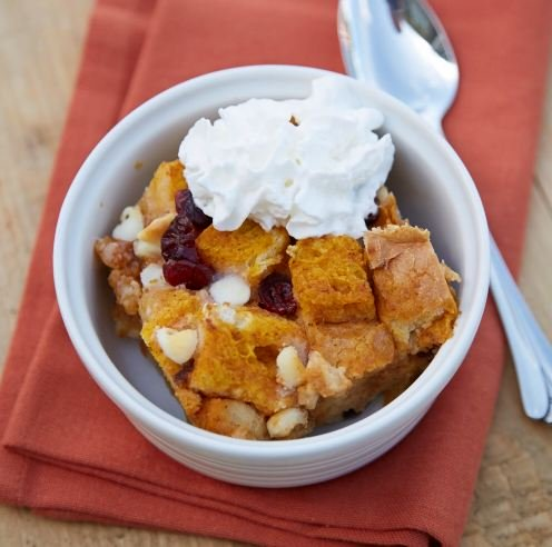 Pumpkin-White Chocolate Bread Pudding